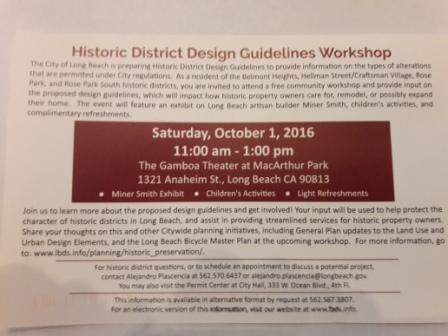 Historic District Design Guidelines Workshop